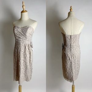 NWT DAVIDS BRIDAL All Over Lace Strapless Dress 4